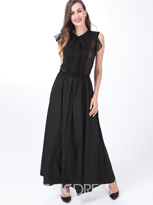 Ericdress Falbala Patchwork Lace-Up Single-Breasted Maxi Dress