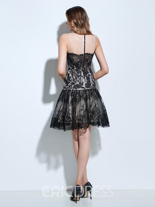 Ericdress A-Line Scoop Button Lace Knee-Length Cocktail Dress