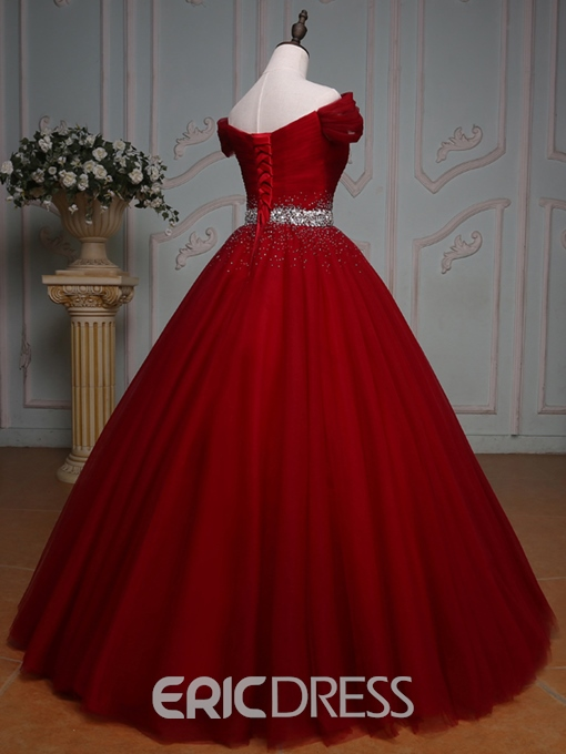 Ericdress Off-the-Shoulder Ball Quinceanera Dress With Beading And Pleats