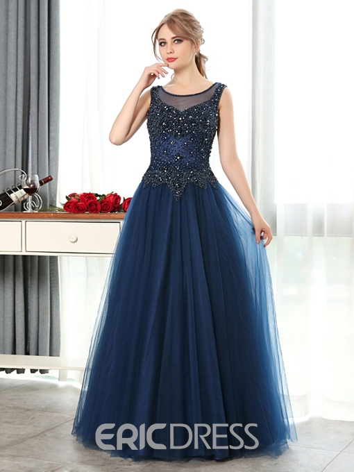 Ericdress A-Line Scoop Beading Crystal Floor-Length Evening Dress