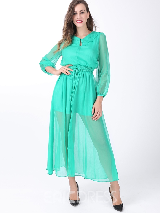 Ericdress Soild Color Long Sleeve Round Neck Maxi Dress