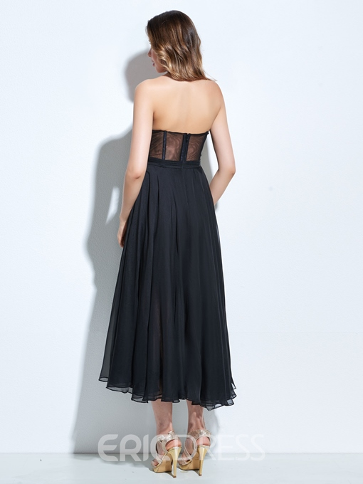 Ericdress A-Line Sweetheart Appliques Draped Tea-Length Cocktail Dress