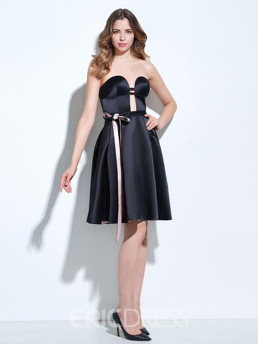 Ericdress A-Line Sweetheart Sashes Knee-Length Cocktail Dress