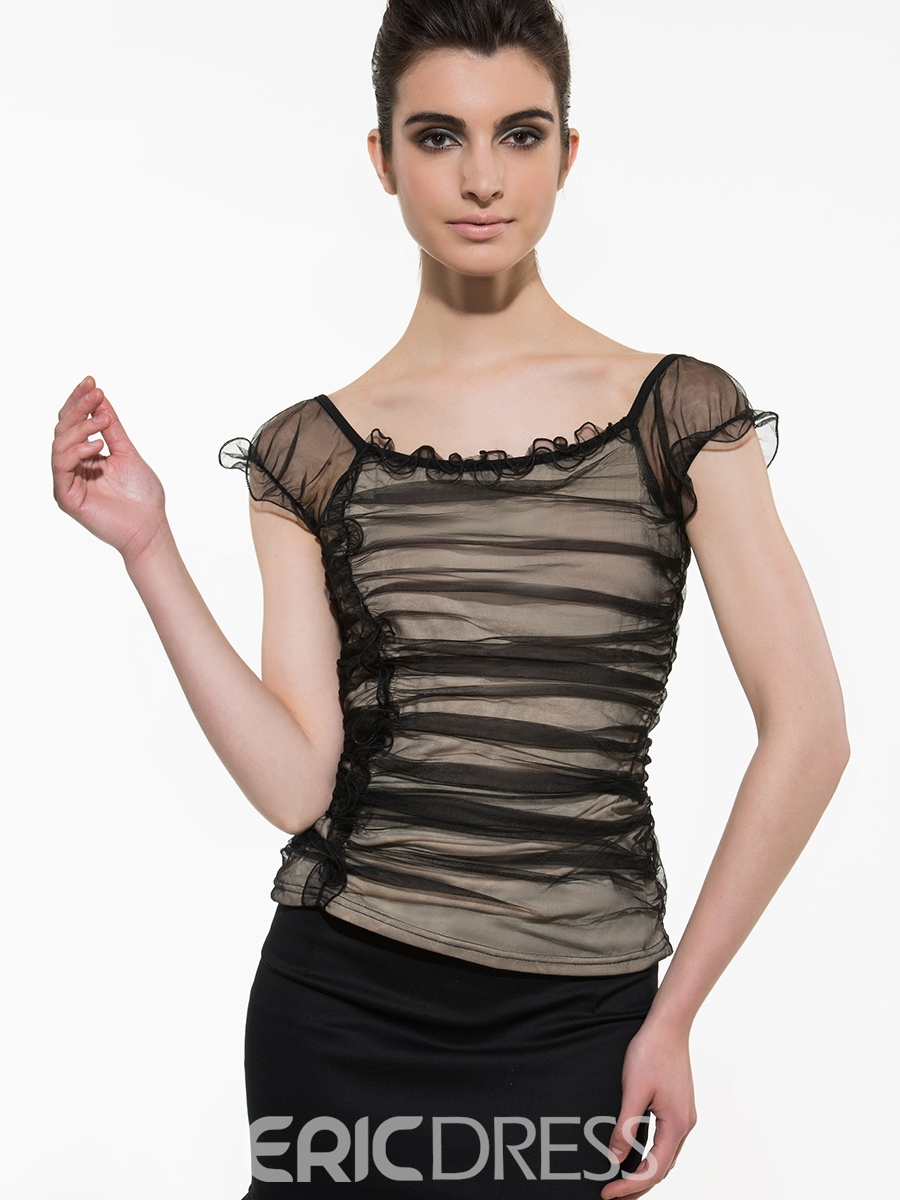 Ericdress Slim Mesh Patchwork Pleated Blouse