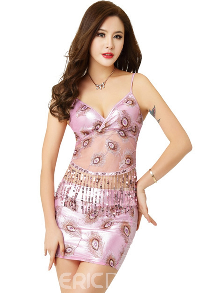 Ericdress Two Pieces Tassel Sequins Sexy Clubwear