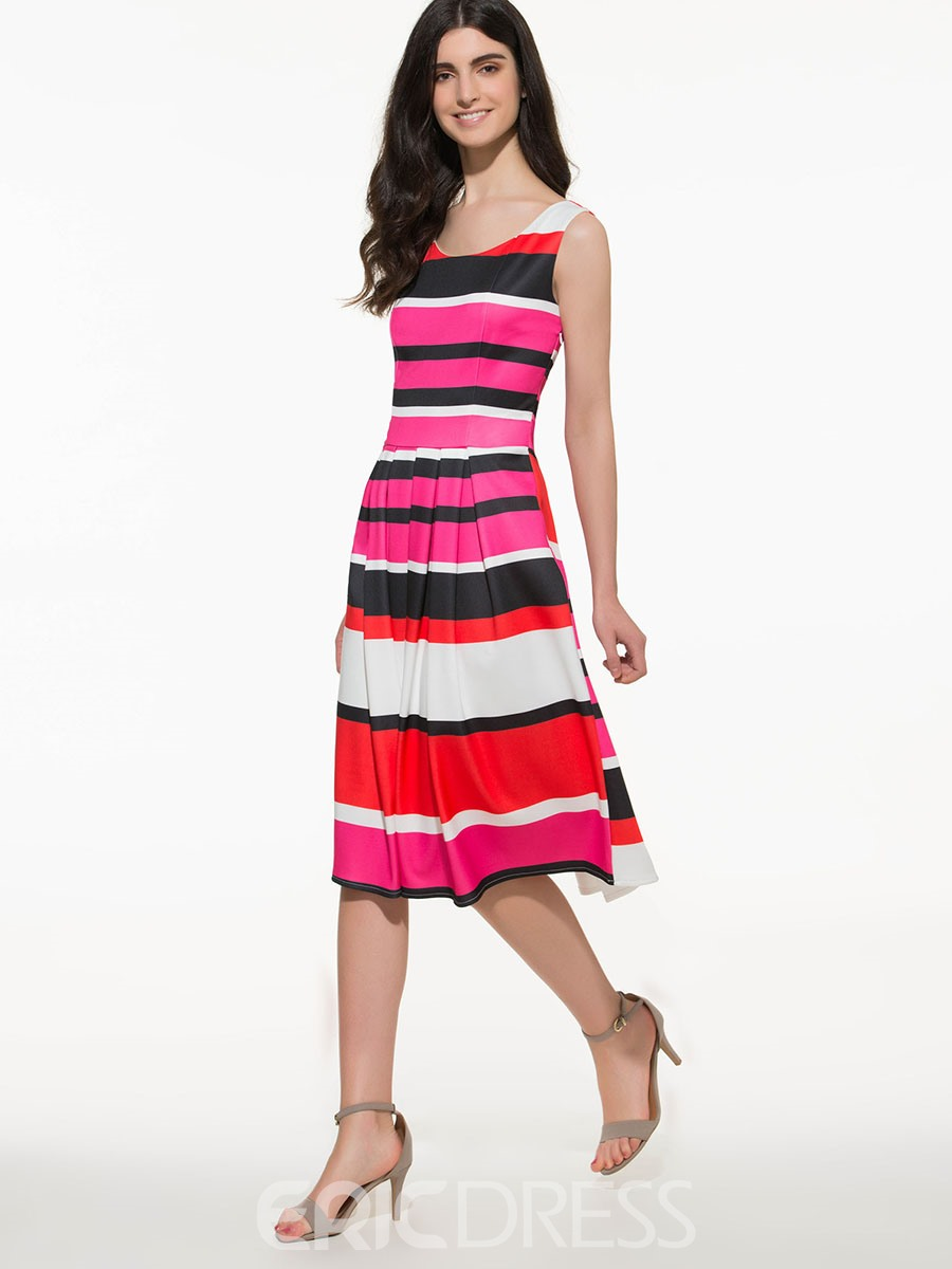 Ericdress Stripe Patchwork Sleeveless Round Neck Casual Dress