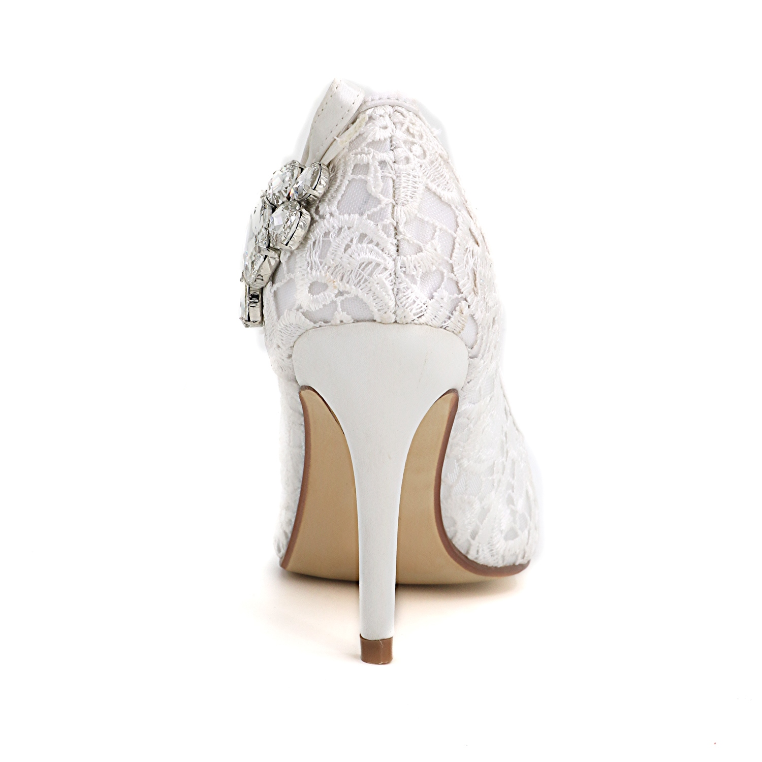 Ericdress Lace Crystal Peep Toe Wedding Shoes
