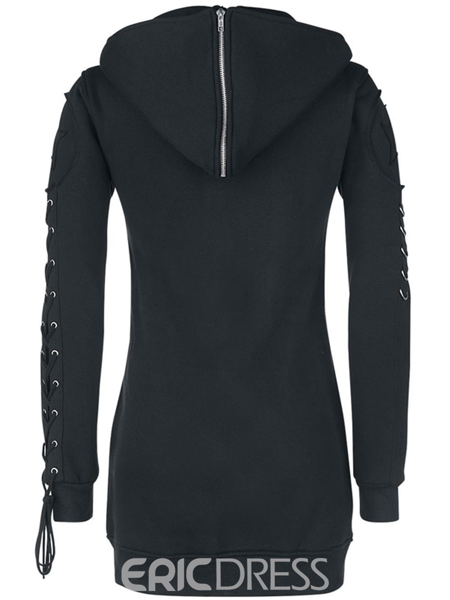 Ericdress Straight Lace-Up Solid Color Hoodie