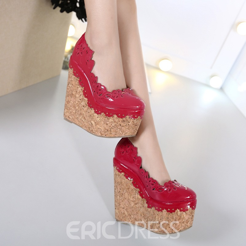 Ericdress Chic Purfle Round Toe Wedges