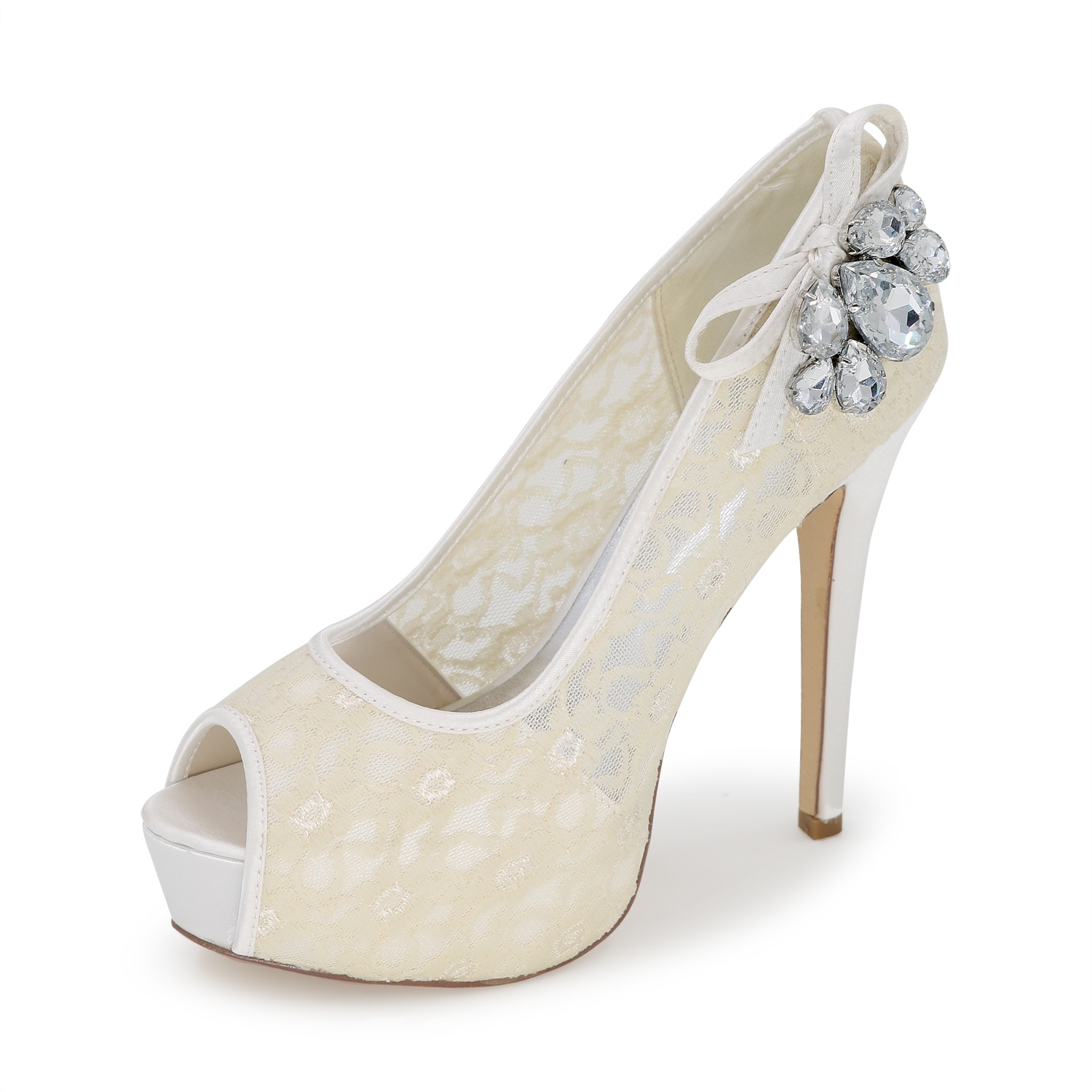 Ericdress Lace Bowtie&Crystal Peep Toe Wedding Shoes