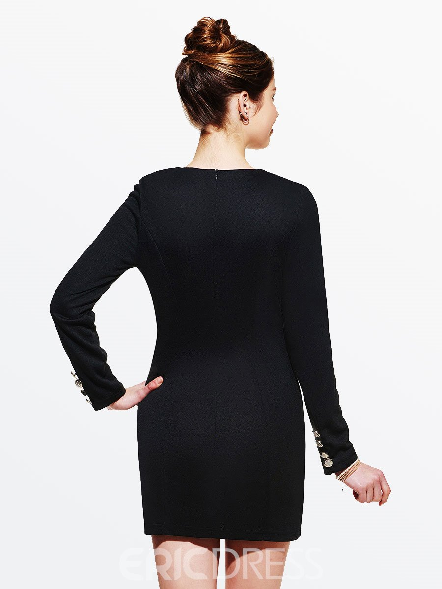 Ericdress Solid Color Double-Breasted Bodycon Dress