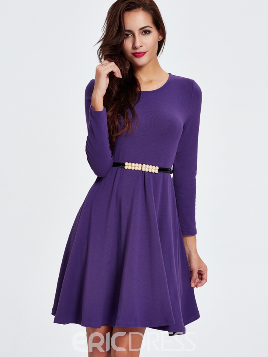 Ericdress Solid Color Expansion Belt Long Sleeve Casual Dress