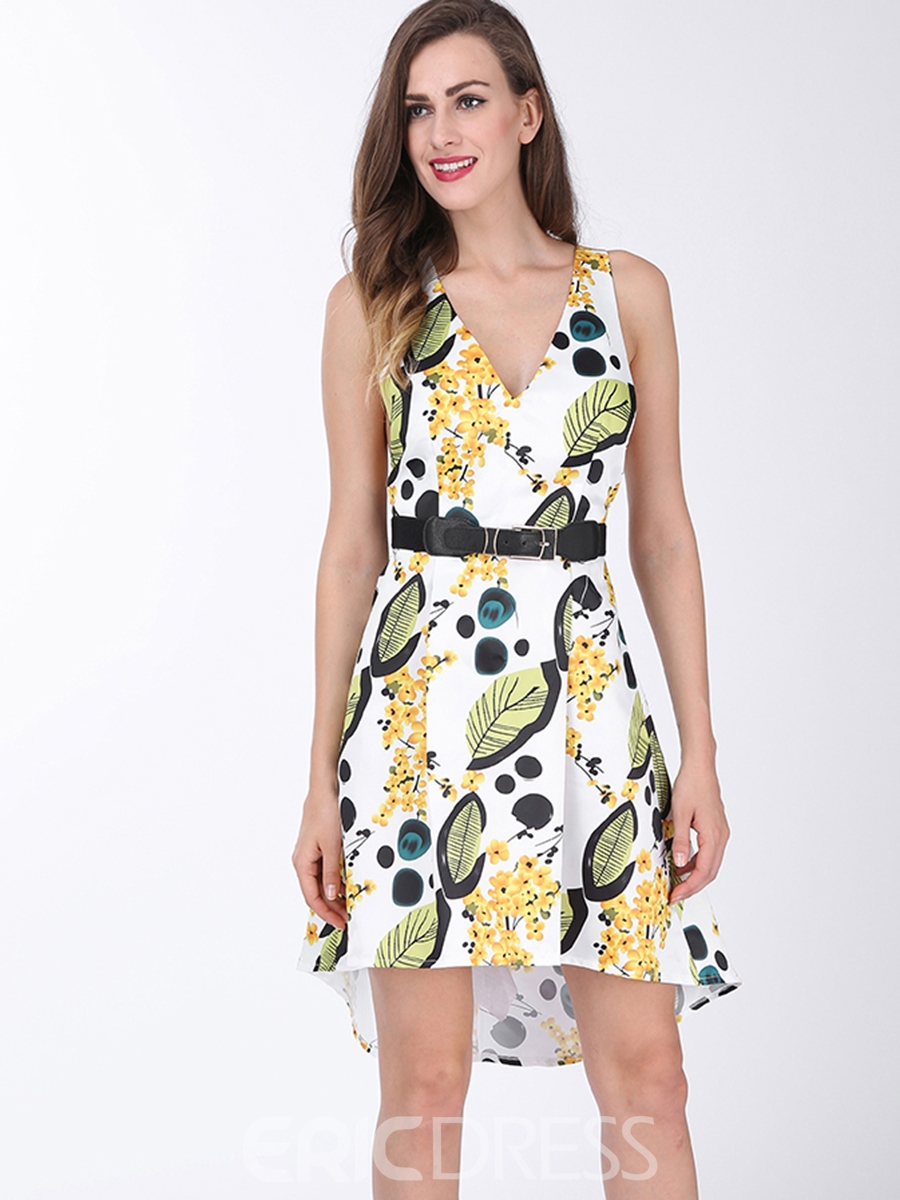 Ericdress Floral V-Neck Asymmetric A Line Dress