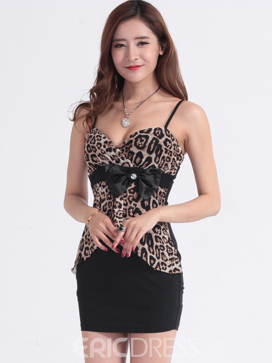 Ericdress Leopard Patchwork Bowknot Sexy Fashion Clubwear