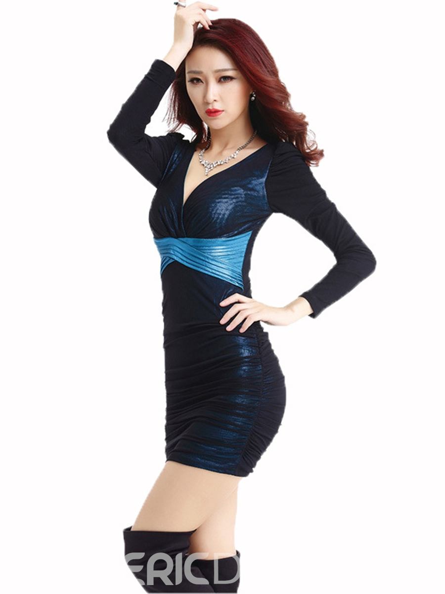 Ericdress Color Block Deep V-Neck Pleated Sexy Clubwear