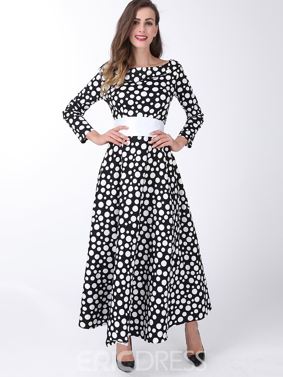 Ericdress Polka Dots Lace-Up Maxi Dress