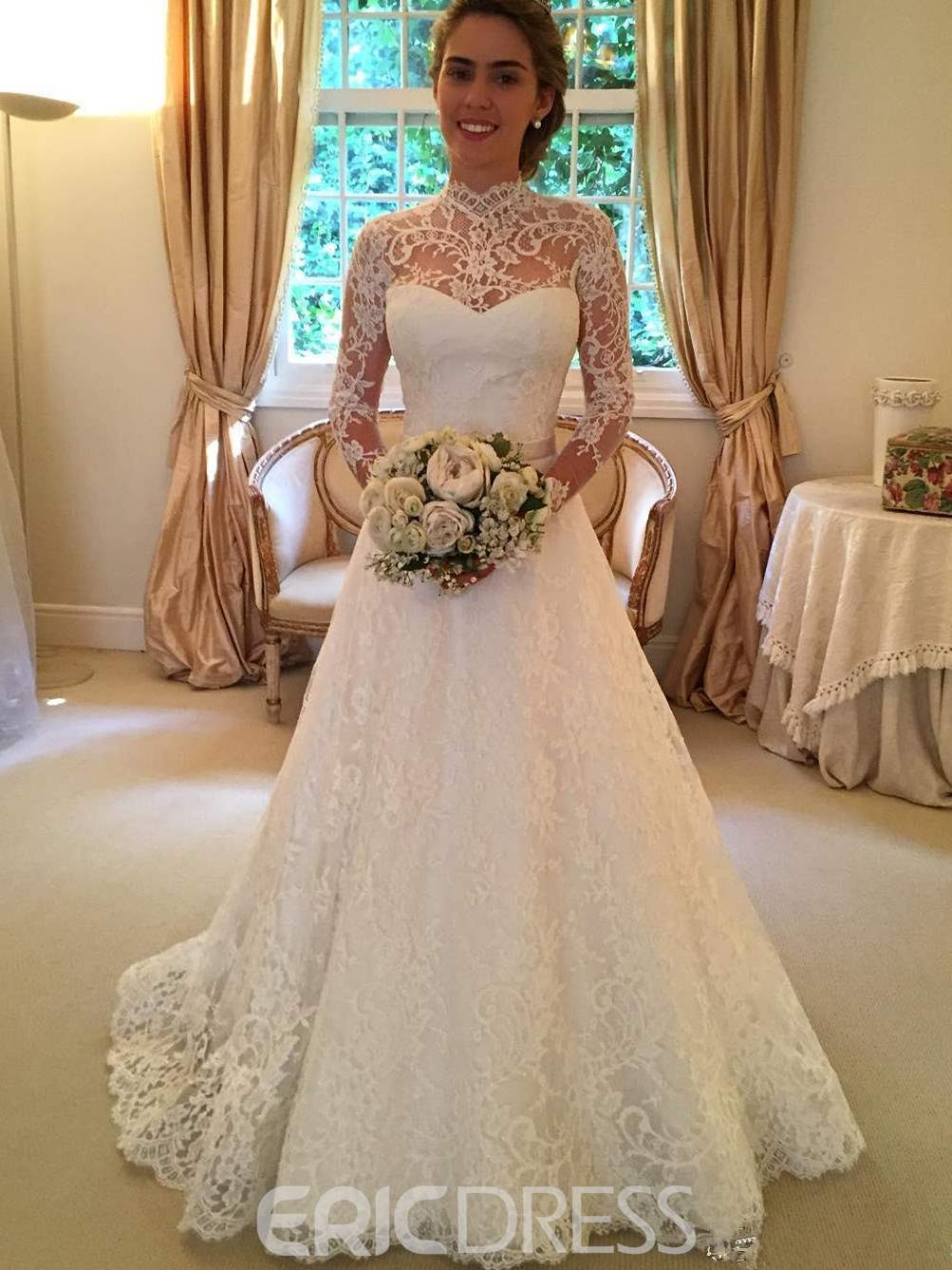 Ericdress Beautiful High Neck Lace Wedding Dress With Sleeves