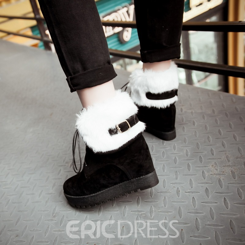 Ericdress Furry Lace-Up Round Toe Elevator Heels Snow Boots