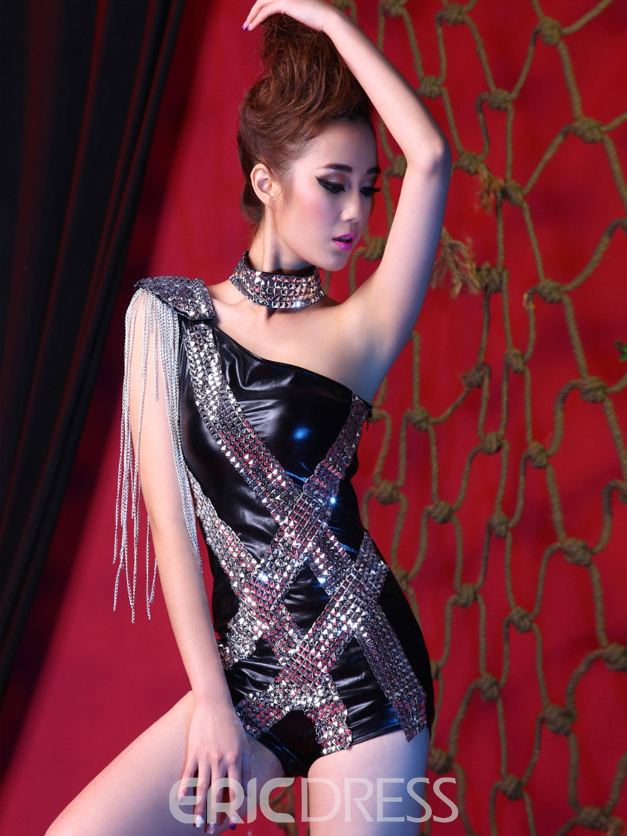 Ericdress Sequins Patchwork Tassel Chain One Shoulder Sexy Clubwear