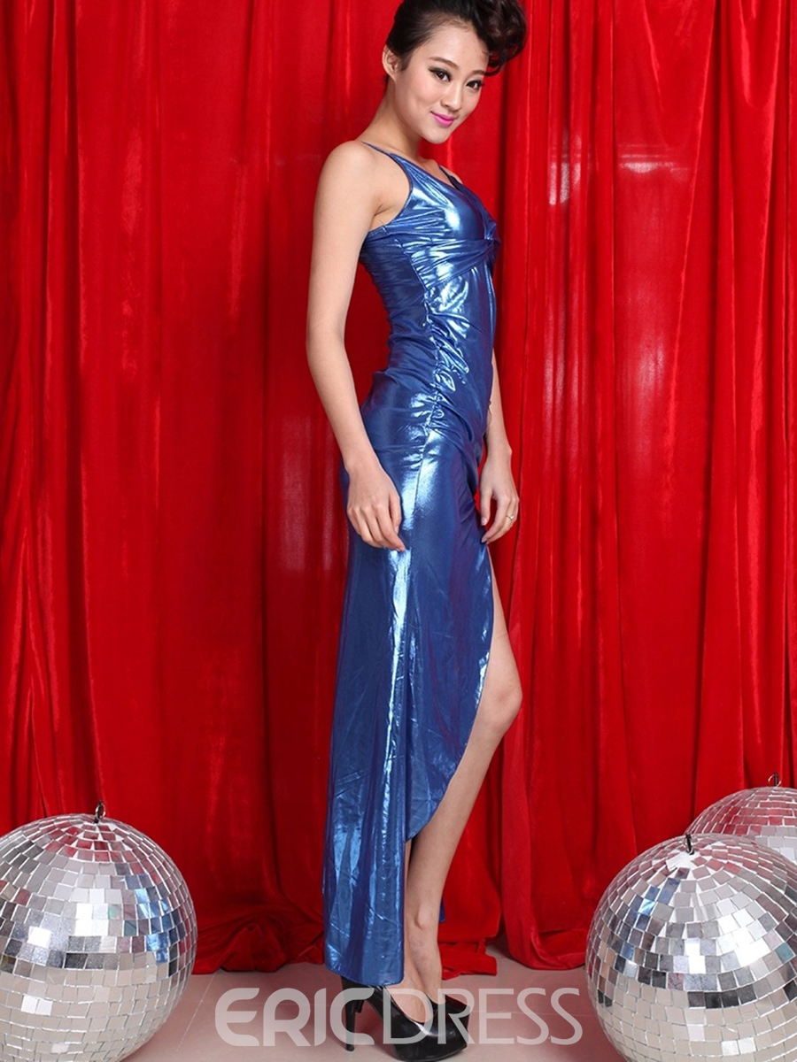 Ericdress Iregular Patent Leather Slit Sexy Clubwear