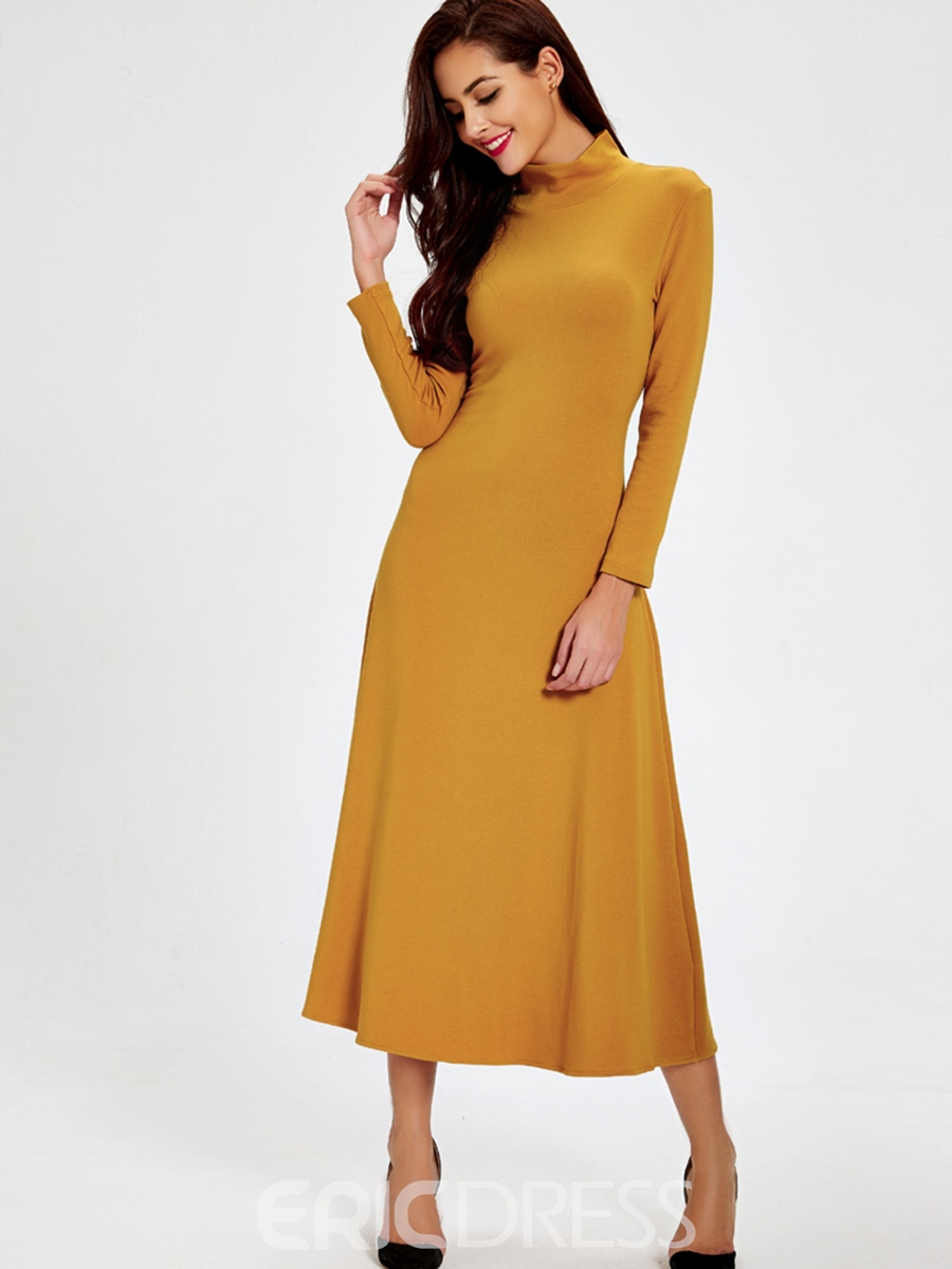 Ericdress Solid Color Stand Collar Hollow Maxi Dress