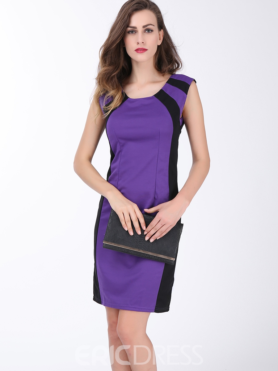 Ericdress Color Block Pencil Mid-Calf Round Neck Sleeveless Zipper Dress
