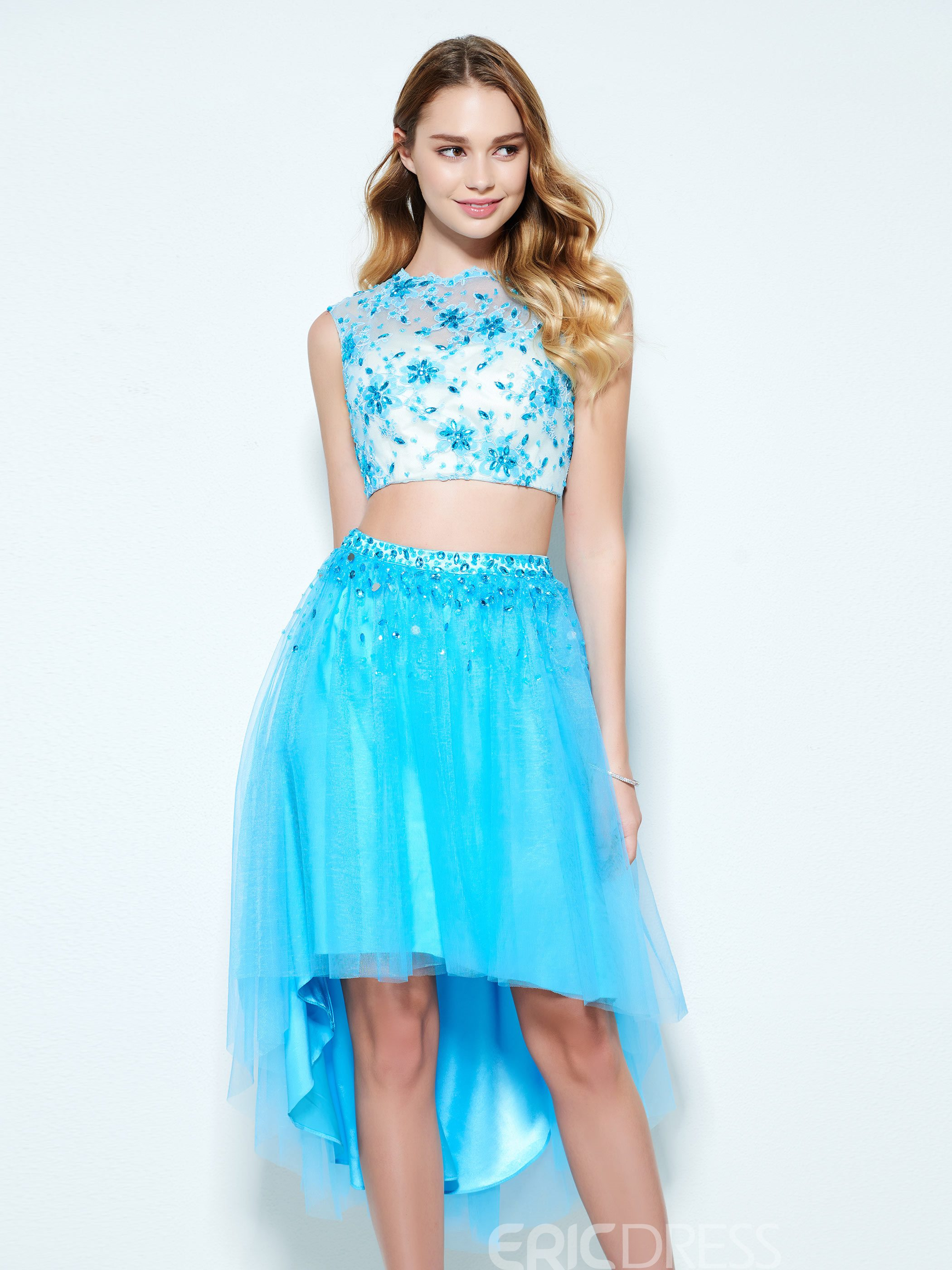 Ericdress A-Line Scoop Beading Lace Asymmetry Homecoming Dress