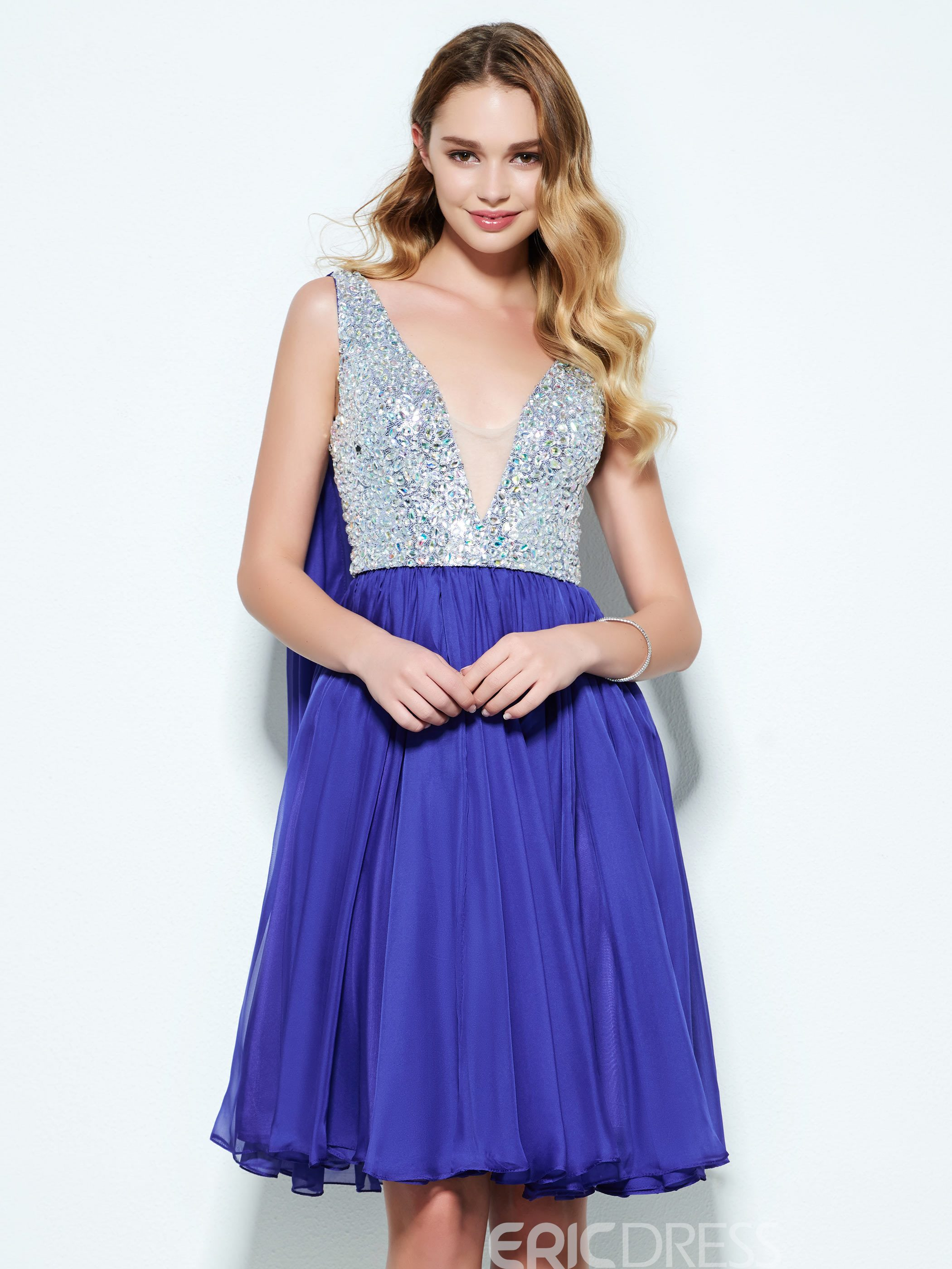 Ericdress A-Line V-Neck Beading Knee-Length Homecoming Dress