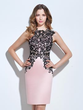 Ericdress jewel sheath appliques knielänge cocktailkleid