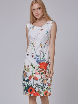 Ericdress Elegant Floral Print Sleeveless Casual Dress