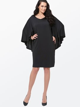 Ericdress Plain Cape Bell Sleeve Plus Size Bodycon Dress