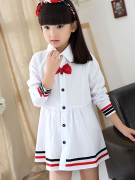 Ericdress Preppy Lapel Long Sleeve Girls Dress