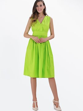 Ericdress Cross Pleated High-Waist A Line Dress
