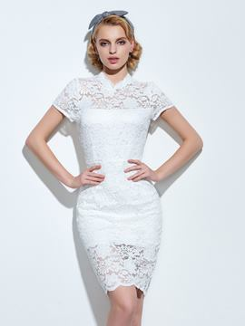 Ericdress Solid Color Short Sleeve Split Lace Dress