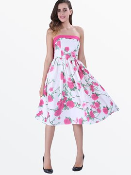 Ericdress Strapless Print Casual Dress
