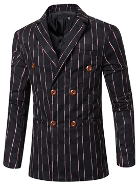 Ericdress Lapel Stripe Vogue Double-Breasted Men's Blazer