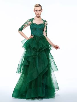 Ericdress A-Line 3/4 Length Appliques Tiered Evening Dress In Floor-Length