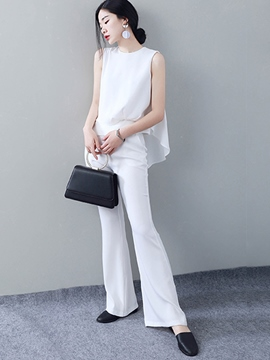 Ericdress Solid Color Asymmetric T-Shirt Bellbottoms Suit