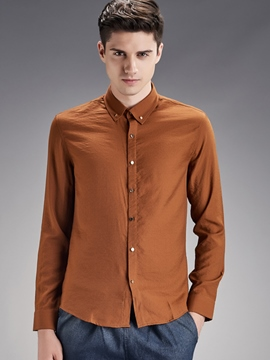 Ericdress Plain Button Down Long Sleeve Men's Shirt
