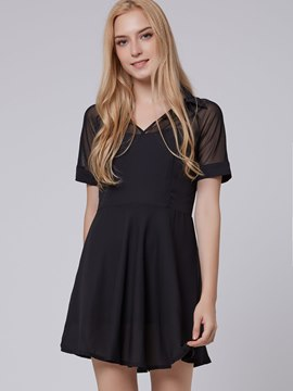 Ericdress Elegant Lapel Short Sleeves Chiffon Casual Dress