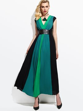 Ericdress Color bloque Patchwork con cuello en v vestido Maxi