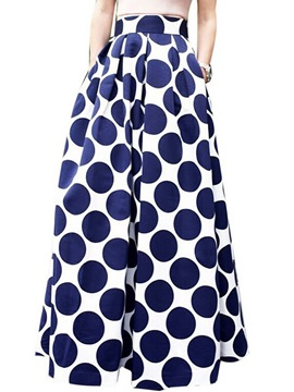 Ericdress Polka Dots Pleated Maxi Skirt