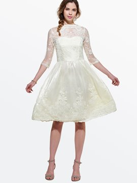 Ericdress Hollow Patchwork Solid Color Lace Dress
