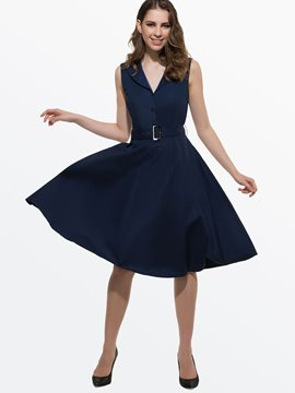 Ericdress Vintage Belt Casual Dress