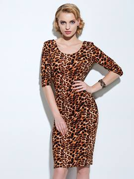 Ericdress Leopard Half Sleeves Sheath Dress