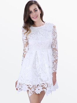 Ericdress White Skater Lace Dress