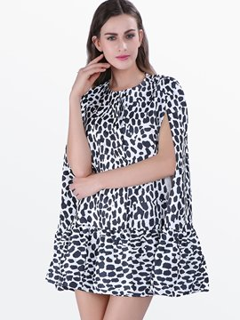 Ericdress Leopard Above Knee Short Sleeve Pullover Casual Dress