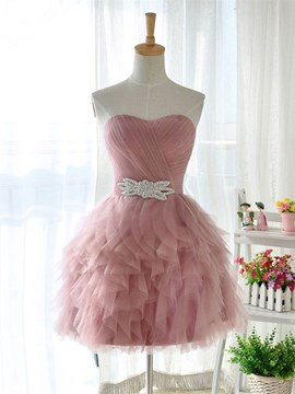 Ericdress A-Line Sweetheart Crystal Pleats Short Cocktail Dress