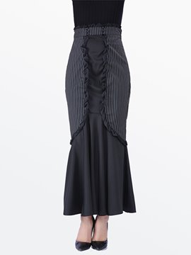 Ericdress Vintage Stripe Patchwork Skirt