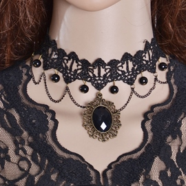 Ericdress Black Gemstone Inlaid Lace Necklace